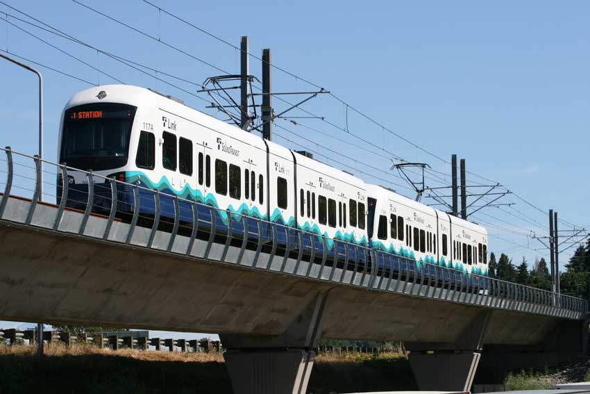 Sound Transit Light Rail Car heading to next destination.