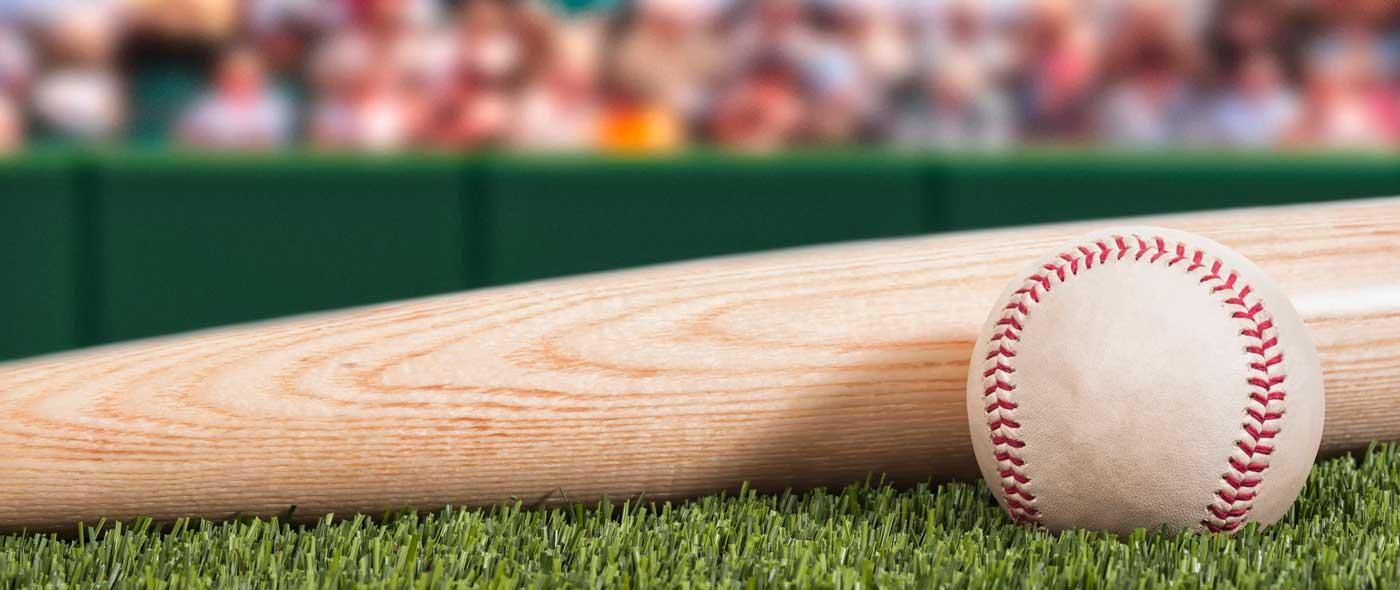 Baseball and bat on a green field
