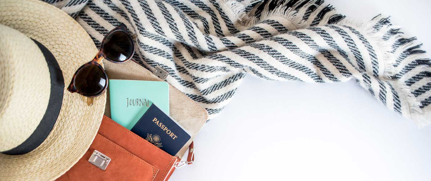 Travel Bag with Passport and Journal, hat and scarf.