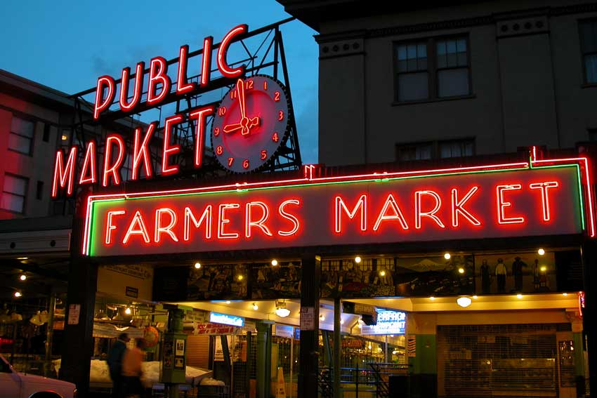 A night view of the Pike Place Market